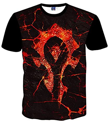 Pizoff Men T shirts with round neck short sleeve black World of Warcraft welding light casual unisex tops summer