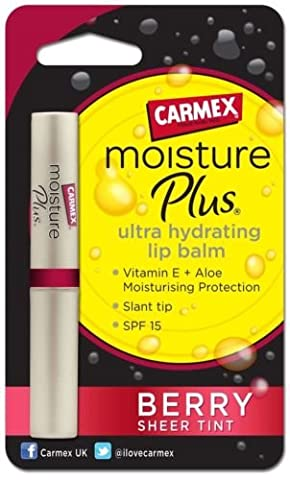 Carmex Moisture Plus Ultra Hydrating SPF15 BERRY Sheer Tint Finish Lip Balm ~ 2g