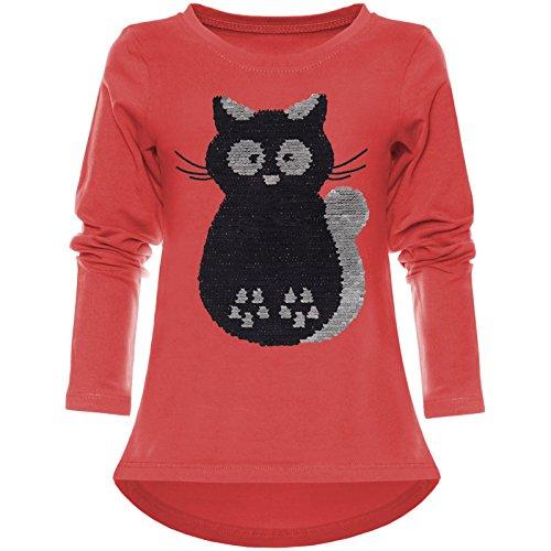 BEZLIT Kinder Mädchen Wende-Pailletten Langarmshirt Langarm Shirts 21729 Rot Größe 116 -