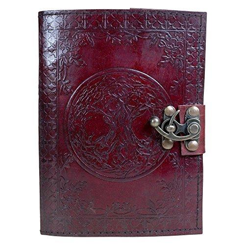 Nemesis Now Tagebuch mit Schloss aus Leder, 15 x 21 cm, Burgunderrot