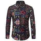 UJUNAOR Männer Gemälde Shirt Top 2018 Frühling Herbst Casual Langarm Bluse(Schwarz,EU L/CN XL)