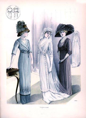 Viktorianische, Edwardianischer Brautkleid Fashion Damen Leinwand (Brautmutter), 28 x 20 cm, (2d)