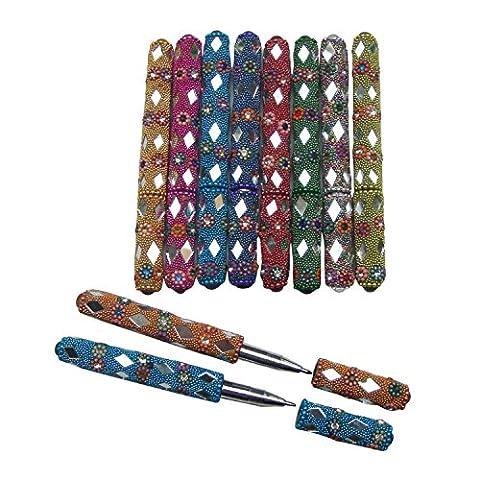 Miroir décoratif Perles plastique Lac Stylos de l'Inde (jeu de 10)