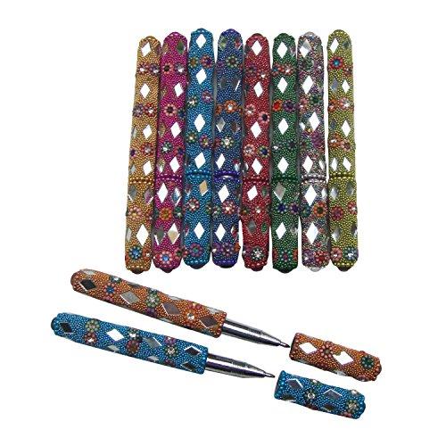 Dekorative Spiegel Kunststoff-Perlen Handmade Lac Pens aus Indien (Set von 10)