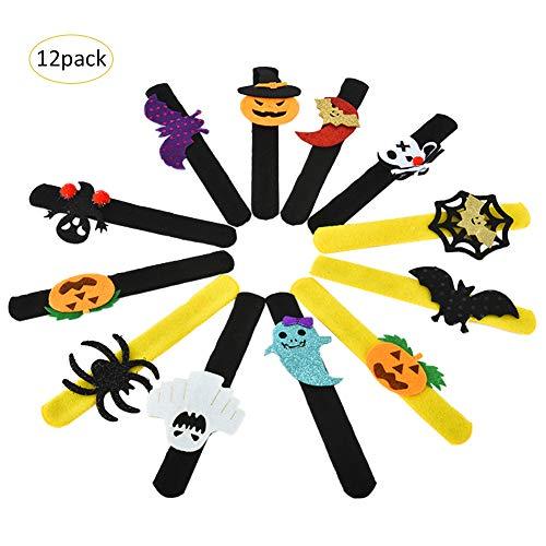 für Kinder Jungen Mädchen Halloween Kürbis Fledermaus Geist Tier Handgelenkband Geburtstagsparty begünstigt Gefälligkeiten Tasche Füller Geschenke - 12 Pack ()