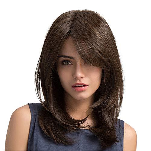 Alexsix Natürliche Pony-Perücken der Frauen braune Farbe langer Haarschnitt synthetisches hitzebeständiges Haar