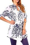 Damen Sommer Strand Oversize Tunika Bluse Lang Longbluse Weit Halbarm Kragenlos Baumwolle Gemustert Korallen Print Weiß Marine