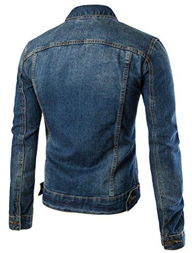 MatchLife Homme Blouson Denim d'hiver Fourré Mouton Style1-Bleu