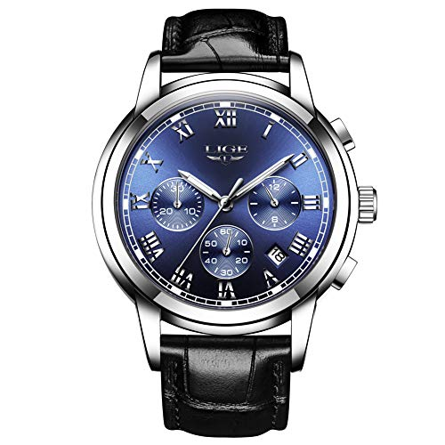LIGE Montre Homme Quartz Analogique étanche Horloge Classique Bracelet en Cuir Noir 9866H ...