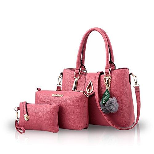NICOLE&DORIS Moda 3 PCS Bag Borsetta Spalla Donna Crossbody Totes Messaggero Morbido PU Grigio Rosa