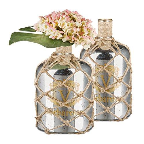 2x Bodenvase Aufdruck, Dekoflasche Glas, Blumenvase Jute-Kordel, Standvase Vintage, HxBxT: ca. 35 x 18 x 18 cm, silber