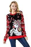 Damen Weihnachtspullover Lustig Unisex Hässliche Pulli Strickpullover Ugly Weihnachtspulli mit weihnachtlichen Motiven für Damen Herren Weihnachtsparty