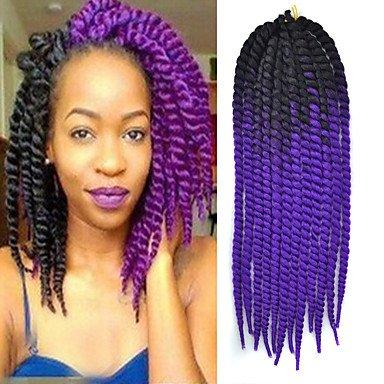 GANTA @ Schwarz ombre violett havana crochet twist zöpfe haarverlängerungen 22 kanekalon 2 strang 120g gram haare zöpfe , black/purple