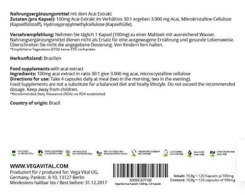ACAI Vegavero | Estratto di Bacche | OFFERTA FINO A ESAURIMENTO SCORTE | 3000 mg | Brucia Grassi - Antiossidante | 120 capsule | Vegan, privo di Glutine e Lattosio