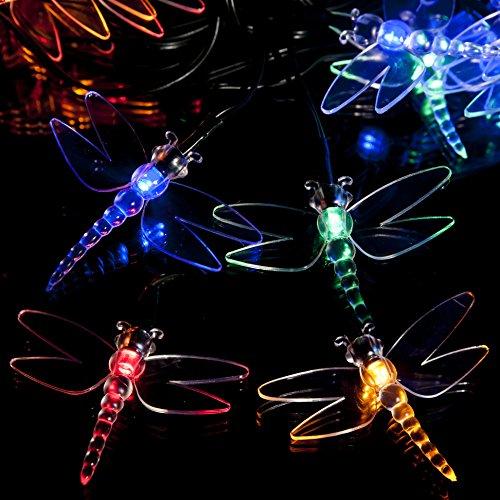 SPV Lights Solar-Lichterkette mit Libellen-Motiv, 100 LEDs, verschiedene Farben