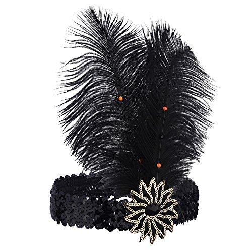 (ArtiDeco 1920s Feder Stirnband 20er Jahre Stil Flapper Haarband Gatsby Stirnband Damen Kostüm Charleston Accessoires (Schwarz))