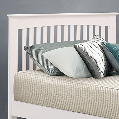 Happy Beds Toronto 3' Single Size Renowned Rubber Wooden White Guest Bed With 2x Pocket Spring Mattress