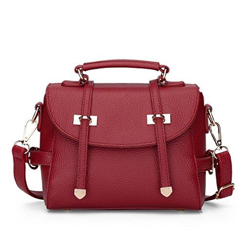 HQYSS Damen-handtaschen Frauen PU-lederne große Kapazitäts-Schulter-Kurier-Handtaschen-justierbare einfache wilde feste Farbkreuzbody-Beutel-Einkaufstasche red