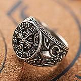 Selia Crusader Flower Ring 925 Plata esterlina Incrustaciones Flint Anillo Hombres y Mujeres joyería de la Mano,XL