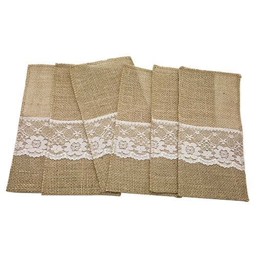 AmaJOY 12pcs ( a dozen) 4x8 inch Natural Hessian Burlap Utensil Holders Silverware Napkin Holders Cutlery Pouch Knifes Forks Bag for Country Wedding Decor Bridal Shower Party Table Setting Decorations