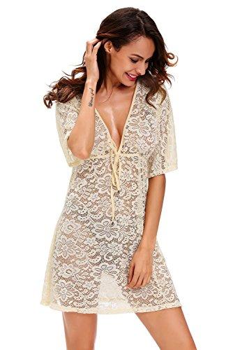Lace Kaftan (Neue Damen creme Full Lace Cover Up Kleid Beach Wear Kaftan Größe UK 10–14EU 38–42)