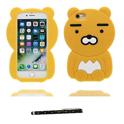 """iPhone 7 Coque shell, [ 3D Cartoon ours bear ] Étui pour iPhone 7 Case 4.7"""", TPU poussière glissement résistant aux rayures et stylet # 1"""