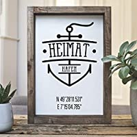 """Vintage Farmhouse Schild mit eigenen Koordinaten in 21x30 cm""""Heimathafen"""" Landhaus Deko Bild fixerupper für Küche, Flur, Schlafzimmer oder Wohnzimmer"""