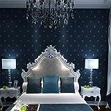 Mddjj Einfaches Vlies Tapeten-Schlafzimmer Wohnzimmer Fernsehhintergrund Dunkelblaue Diamant 3D Tapete