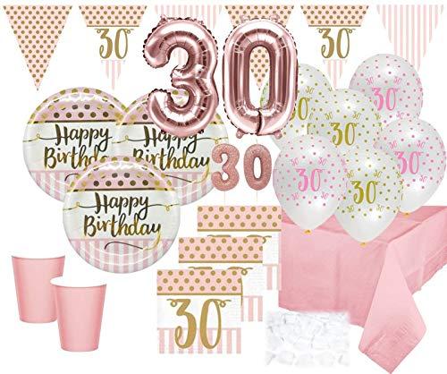 XXL 47 Teile Party Deko Set zum 30. Geburtstag in Rosa Roségold und Gold Glanz für 8 Personen