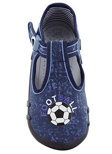 xKids Mädchen Jungen Kindergartenschuhe Hausschuhe Modell Bilbao Dunkelblau/Fußball