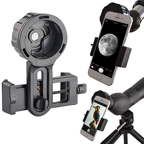 Slokey Adaptador de Móvil Pro para Prismáticos, Monoculares, Telescopios Terrestres, Telescopios Astronómicos, Microscopios. Compatibles con Cualquier Smartphone. Ideal para Capturar Tus Aventuras.