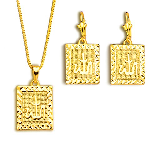 Fashion Alpha jewelry Men Pendants Necklaces Earrings Set 18K Gold Plated India Jewelry Sets gifts S20148