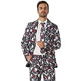 EraSpooky Rose und Schädel Anzüge für Männer kommt mit Jacke Hose und Krawatte