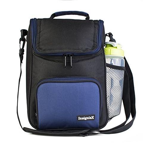 Crossbody Lunch Bag: insigniax Isolierte Lunch Box für Erwachsene Herren Damen Jungen Mädchen mit Schultergurt, Vorder- und Seitentaschen [Unisex Messenger Bag] Größe H: 30cm X W: 9,9cm X L: 20,1cm Large marineblau