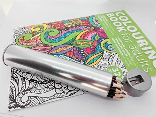 Set Libro de Colorear Mandalas para adultos y estuche de metal redondo con 20 colores y sacapuntas en la tapa