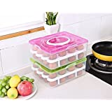 VDHJA™ Double Layer 32 Egg Storage Box/Food Storage Box/Vegetable Storage Basket/32 Grid Egg Holder with Tray Plastic Carrier Cases/Double Layer Egg Box