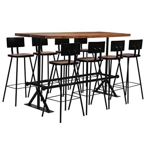 ROMELAREU Conjunto de Muebles de Bar 9 Piezas Madera Maciza ...