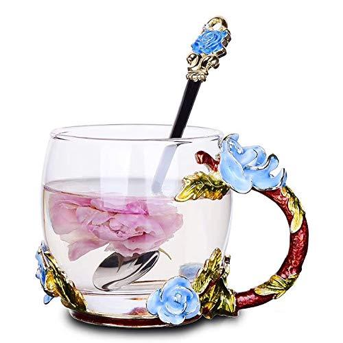warelegant Emaille groß Glas Tasse Clear Home Neuheit Schmetterling Rose Bowl hitzebeständig Crystal Kaffeetassen mit Griff, Geschenke personalisierte handgefertigt mit Löffel Set 11 oz Blue Hibiscus Rose Crystal Tea Rose