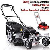 Grizzly Benzin Rasenmäher BRM51 Q 360 Selbstantrieb 2 bewegliche Vorderräder besser als Trike 51 cm Schnittbreite 4 Takt Motor 159cc inkl. Abdeckhaube und Kindermäher