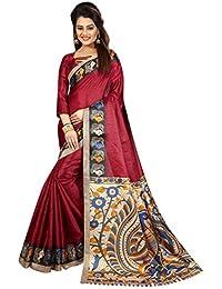 JENCY FASHION Kalamkari 4 Silk Saree With Blouse (MAROON)