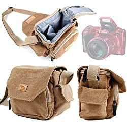 Housse de voyage pour appareil photo Canon PowerShot SX520 HS, SX530 HS et SX60 - couleur sable - paroies rembourrées + bandoulière DURAGADGET