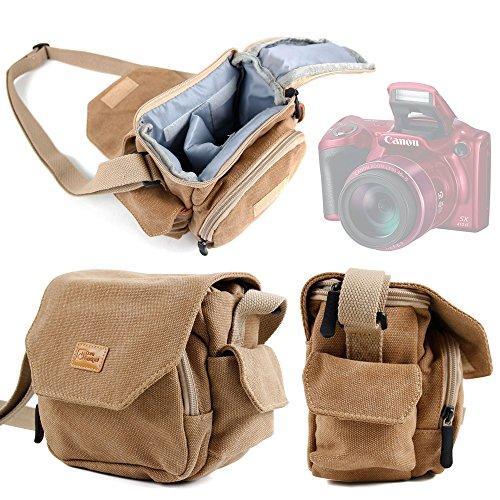 Tasche für Fotoapparat Canon PowerShot SX520 HS, SX530 HS und SX60, Farbe Sand-Paroies-DURAGADGET gepolsterte Schulterriemen