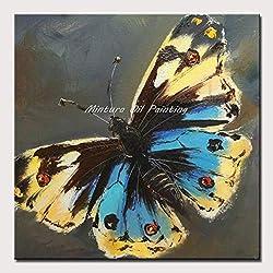 DACEHome Peinture À L'Huile sur Toile,Série Papillons Colorés, Épais, Jaune Bleu Peinture Couteau, Lucky, Gratuitement, Le Pet Décoration Salon Studio