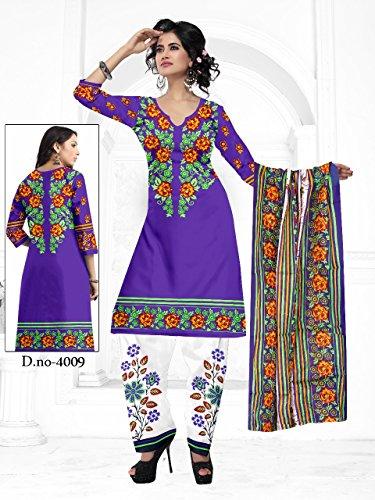 Vijal Women's Cotton printed unstiched Dress material(violet Unstiched)