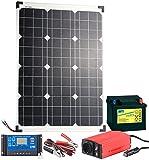 revolt Solaranlage: Solarpanel (50 W) mit Blei-Akku, Laderegler & Wechselrichter (Solar Set)