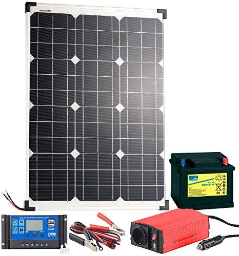 revolt Solaranlage: Solarpanel (50 W) mit Blei-Akku, Laderegler & Wechselrichter (Solar Set) (Solar-panel-überspannungsschutz)