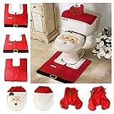 Weihnachtsmann Dekoration für WC Bad | Santa Toilettensitzabdeckung Fußmatten Tankdeckel Handtuch Teppich-Set | Geschenk-Set! by TARGARIAN