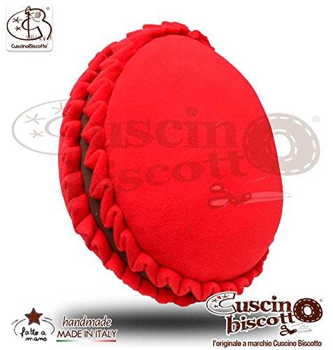 Cuscino Biscotto® - Macarons Rosso crema Cioccolato