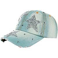 Gorra de béisbol, Tianya mujeres hombres estrellas tela vaquera Gorra de béisbol de moda transpirable sombrero de hip-hop, A