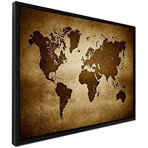 105x 75cm–cuadro–Color Sepia–Juntas sobre lienzo inkusive sombra Marco Negro–Mapamundi Antiguo